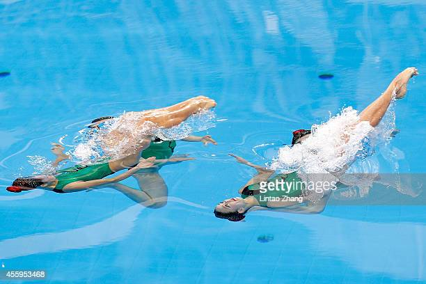 Team of Japan perform during the team synchronised swimming Free Combination Final on day four of 2014 Asian Games at Munhak Park Taehwan Aquatics...