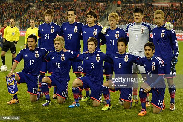Team of Japan pictured during the international friendly match before the World Cup in Brasil between Belgium and Japan on November 19, 2013 in...