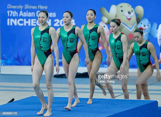 Team of Japan prepare to start in the team synchronised swimming Free Combination Final on day four of 2014 Asian Games at Munhak Park Taehwan...