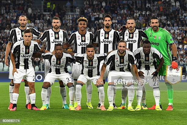 Team of Juventus FC line up during the UEFA Champions League Group H match between Juventus FC and Sevilla FC at Juventus Stadium on September 14...