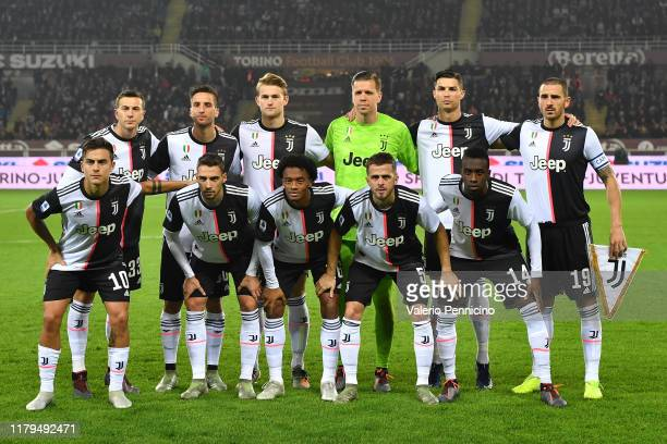 Team of Juventus line up during the Serie A match between Torino FC and Juventus at Stadio Olimpico di Torino on November 2 2019 in Turin Italy