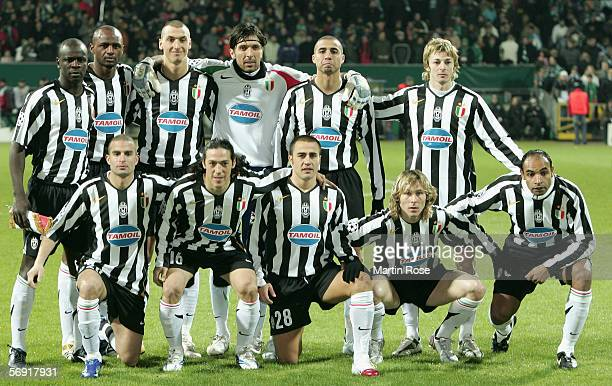 Team of Juventus poses Lilian Thuram Patrick Vieira Ibrahimovic Gianluigi Buffon David Trezeguet Federico Balzaretti Manuele Blasi Mauro Camoranesi...