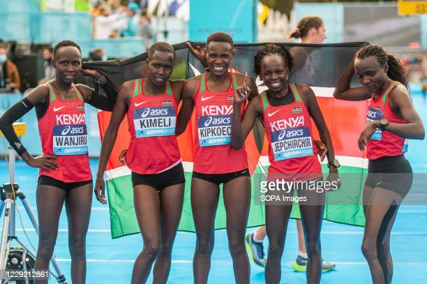 Team of Kenya after the race of 2020 IAAF World Half Marathon Championships in Gdynia