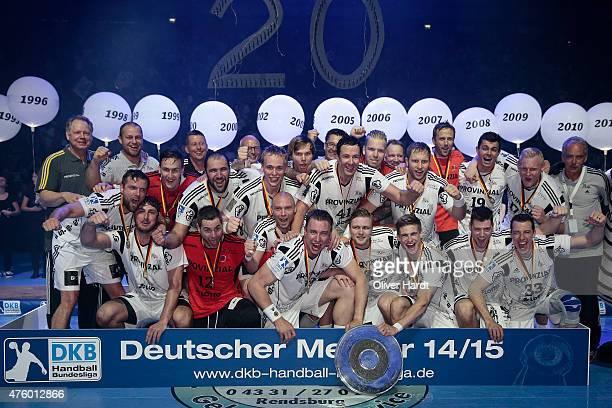 Team of Kiel celebrate with the trophy after the DKB HBL Bundesliga match between THW Kiel and TBV Lemgo at Sparkassen Arena on June 5 2015 in Kiel...