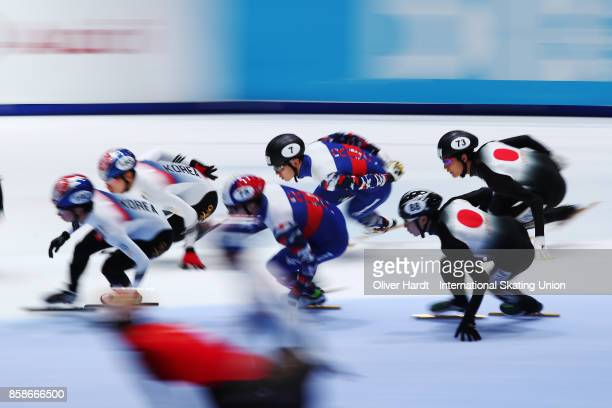 Team of Korea Team of Russia and Team of Japan competes in the Mens 5000m Relay semi finals race during the Audi ISU World Cup Short Track Speed...