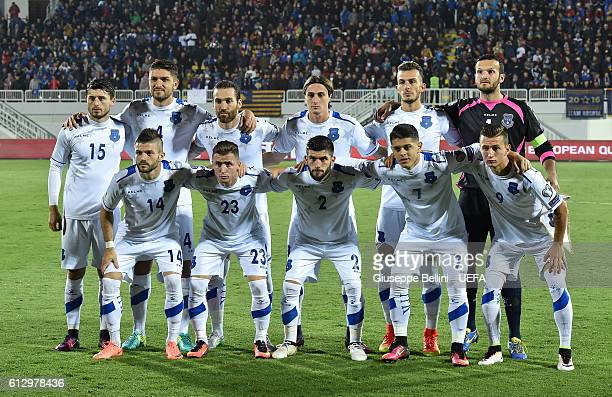 Team of Kosovo prior the FIFA 2018 World Cup Qualifier between Kosovo and Croatia at Loro Borici Stadium on October 6 2016 in Shkoder Albania