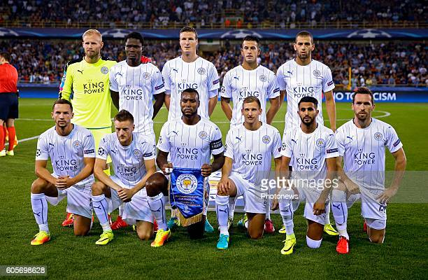 team of Leicester during the UEFA Champions League Group G stage match between Club Brugge and Leicester City FC at the Jan Breydelstadium on in...
