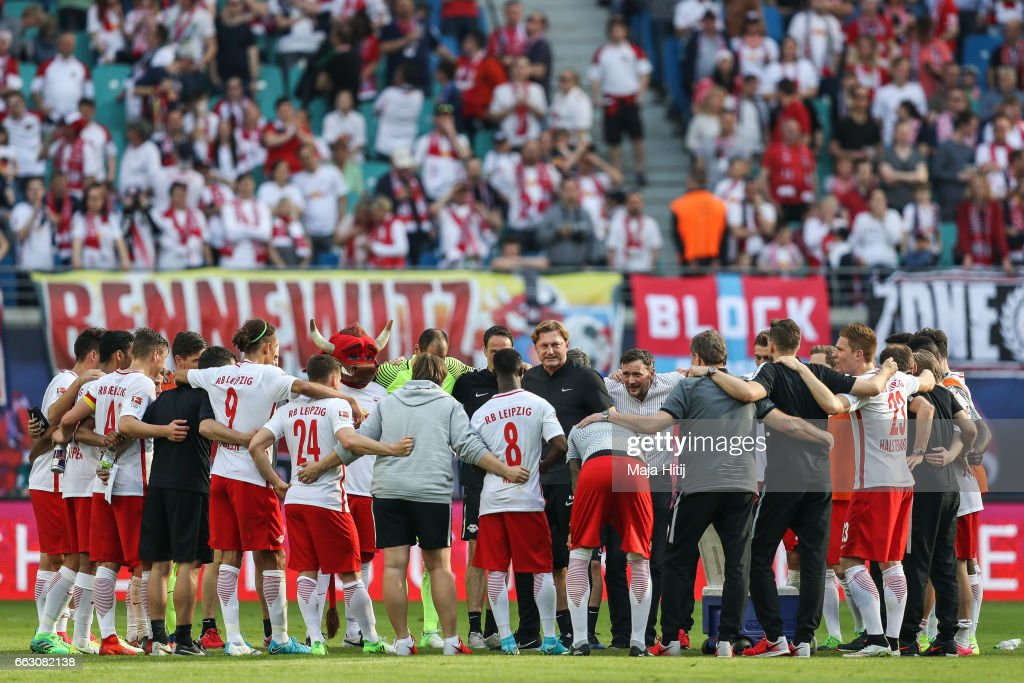 Team of Leipzig celebrates after the Bundesliga match between RB Leipzig and SV Darmstadt 98 at Red Bull Arena on April 1, 2017 in Leipzig, Germany.