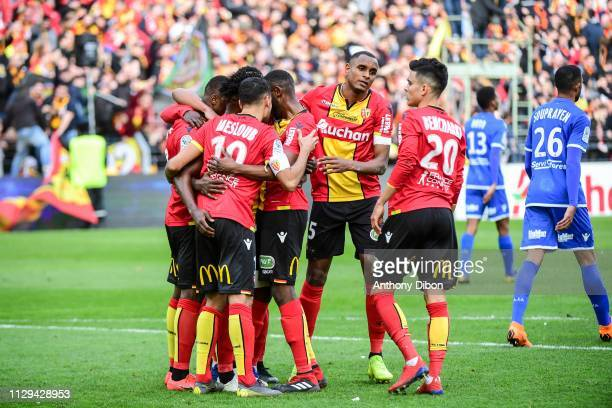 Team of Lens and Steven Fortes celebrate a goal during the Ligue 2 match between RC Lens and AJ Auxerre at Stade BollaertDelelis on March 9 2019 in...