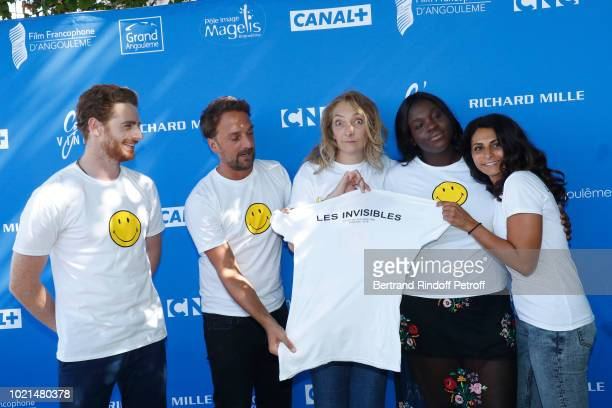 Team of Les Invisibles Pablo Pauly director LouisJulien Petit Corinne Masiero Deborah Lukumuena and producer Liza Benguigui attend the 11th Angouleme...
