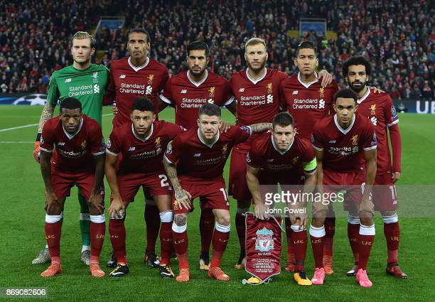 Team of Liverpool during the UEFA Champions League group E match between Liverpool FC and NK Maribor at Anfield on November 1 2017 in Liverpool...