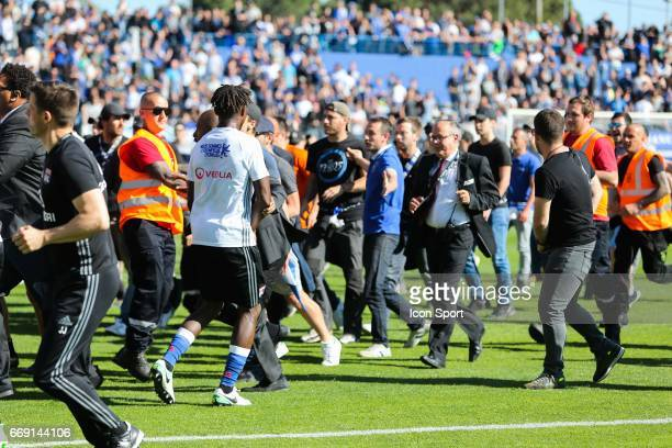 Team of Lyon altercation with supporters during the Ligue 1 match between SC Bastia and Olympique Lyonnais Lyon at Stade Armand Cesari on April 16...