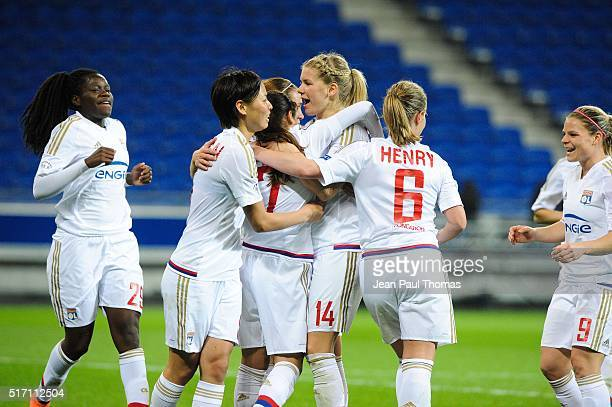 Team of Lyon celebrates scoring his goal during the UEFA women's Champions League match between Olympique Lyonnais and Slavia Prague Round of 8 at...