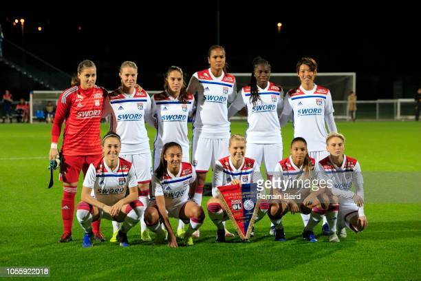 Team of Lyon in line up during the UEFA Women's Champions League match between Lyon and Ajax Amsterdam on October 31 2018 in Lyon France