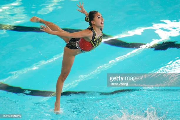 Team of Macao compete during Artistic Swimming Women's Teams Free Routine final at GBK Aquatic Center on day eleven of the Asian Games on August 29,...