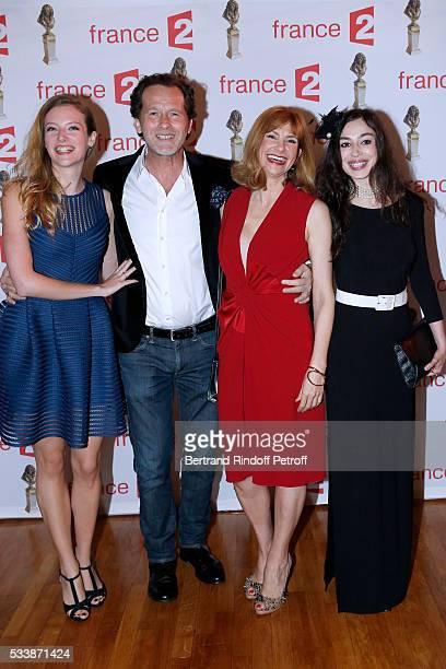 Team of Maris et Femmes Astrid Roos Emmanuel Patron Florence Pernel and Alka Balbir attend La 28eme Nuit des Molieres on May 23 2016 in Paris France