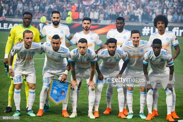 Team of Marseille line up during the Europa League Final match between Marseille and Atletico Madrid at Groupama Stadium on May 16 2018 in Lyon France