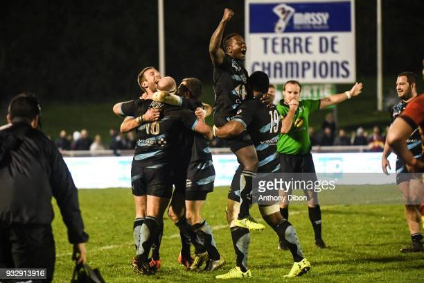Team of Massy celebrates the victory during the Pro D2 match between Massy and Perpignan on March 16 2018 in Massy France