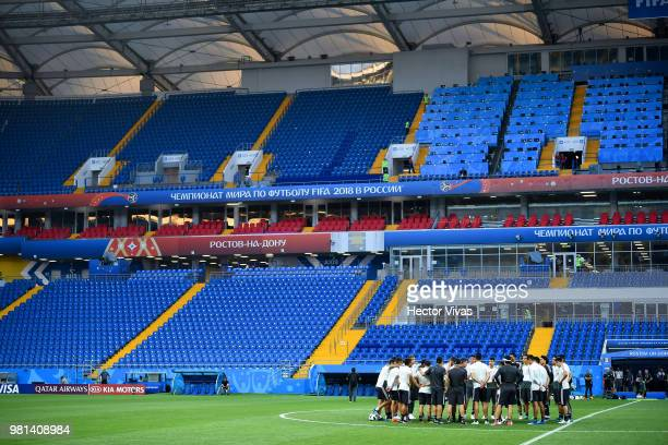 Team of Mexico huddle during a training session ahead of the match against Korea as part of FIFA World Cup Russia 2018 at Rostov Arena on June 22,...