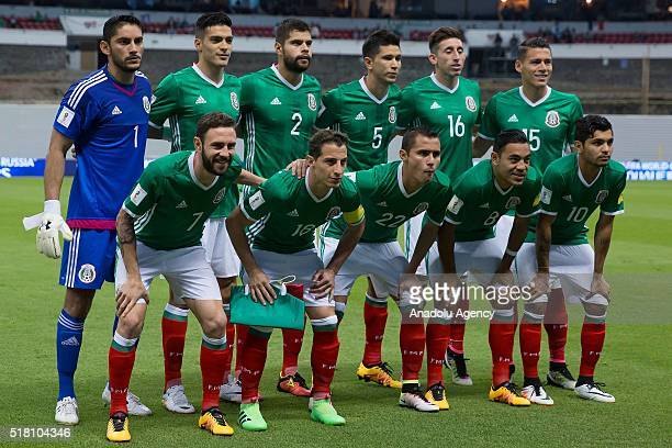 Team of Mexico pose for a picture during the FIFA 2018 World Cup Qualifier Match of Concacaf between Canada and Mexico at Azteca Stadium in Mexico...