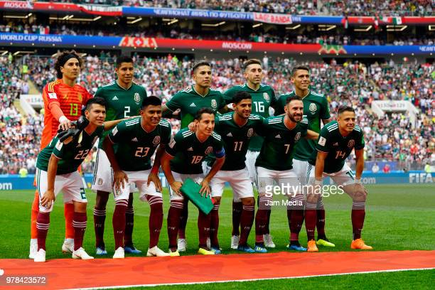 Team of Mexico pose prior to the 2018 FIFA World Cup Russia group F match between Germany and Mexico at Luzhniki Stadium on June 17 2018 in Moscow...