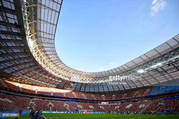 Team of Mexico warm up during Match Day 1 Training Session and Press Conference at Luzhniki Stadium on June 16 2018 in Moscow Russia