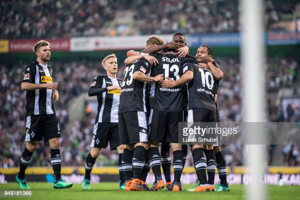 Team of Moenchengladbach celebrate a goal during the Bundesliga match between Borussia Moenchengladbach and VfL Wolfsburg at BorussiaPark on April 20...