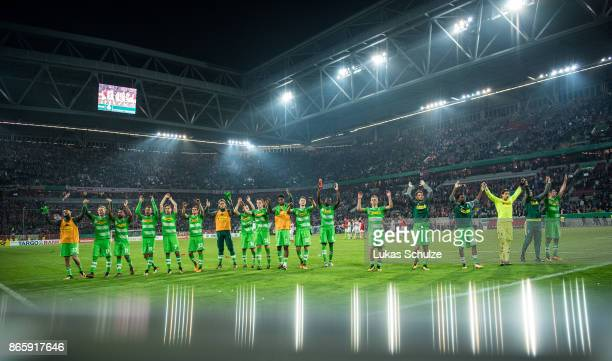 Team of Moenchengladbach celebrate after winning the DFB Cup match between Fortuna Duesseldorf and Borussia Moenchengladbach at Esprit-Arena on...