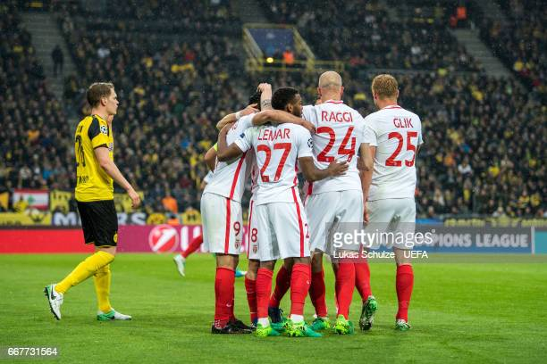 Team of Monaco celebrate their second goal during the UEFA Champions League Quarter Final first leg match between Borussia Dortmund and AS Monaco at...