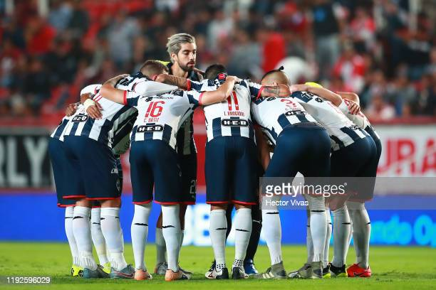 Team of Monterrey huddle prior the Semifinals second leg match between Necaxa and Monterrey as part of the Torneo Apertura 2019 Liga MX at Victoria...