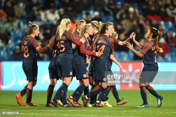 Team of Montpellier celebrate one Goal during the UEFA women's Champions League match Round of 16 second leg between Montpellier and Brescia on...