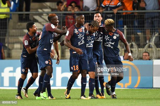 Team of Montpellier celebrates one Goal during the Ligue 1 match between Montpellier Herault SC and Strasbourg at Stade de la Mosson on August 19...