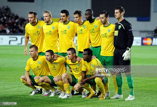 Team of MSK Zilina during the Champions League Playoff match between Sparta Prague and Zilina at Generali Arena on August 17 2010 in Prague Czech...