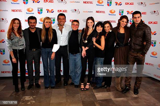 Team of Mujeres Asesinas tv serie pose for a photograph after the chapter's reading on July 7, 2010 in Mexico City, Mexico.