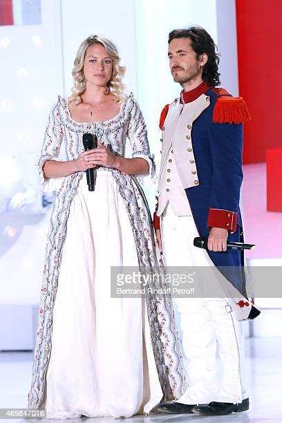 Team of Musical Comedy 'Marie Antoinette et le Chevalier de Maison Rouge' Aurore Delplace and Mickael Miro perform during the 'Vivement Dimanche'...