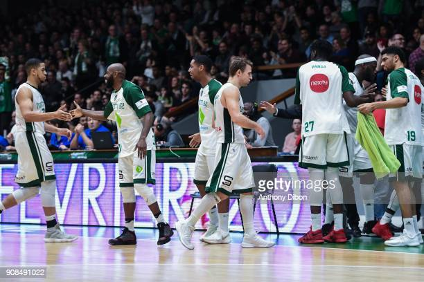 Team of Nanterre celebrates during the Pro A match between Nanterre 92 and Monaco on January 21 2018 in Nanterre France