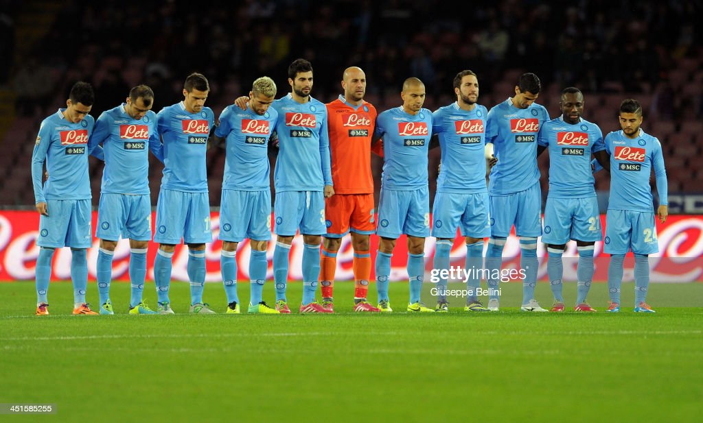 Team of Napoli observe a minutes silence for the victims of the floods in Sardinia prior the the Serie A match between SSC Napoli and Parma FC at Stadio San Paolo on November 23, 2013 in Naples, Italy.