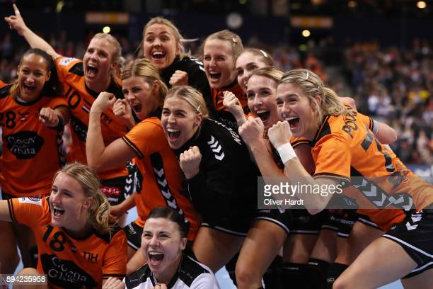 Team of Netherlands celebrate after the IHF Women's Handball World Championship 3rd place match between Netherlands and Sweden at Barclaycard Arena...