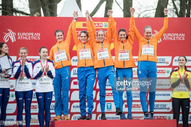 Team of Netherlands celebrate their Gold Medal during the Women's award ceremony of the SPAR European Cross Country Championships on December 9 2018...