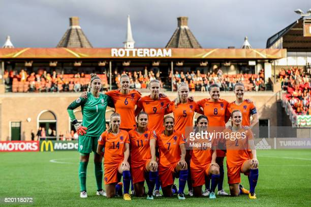 Team of Netherlands line up for a photo prior the UEFA Women's Euro 2017 Group A match between Netherlands and Denmark at Sparta Stadion on July 20...