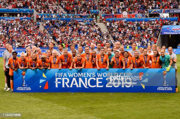 Team of Netherlands pose after the 2019 FIFA Women's World Cup France Final match between United States and Netherlands at Groupama Stadium on July 7...