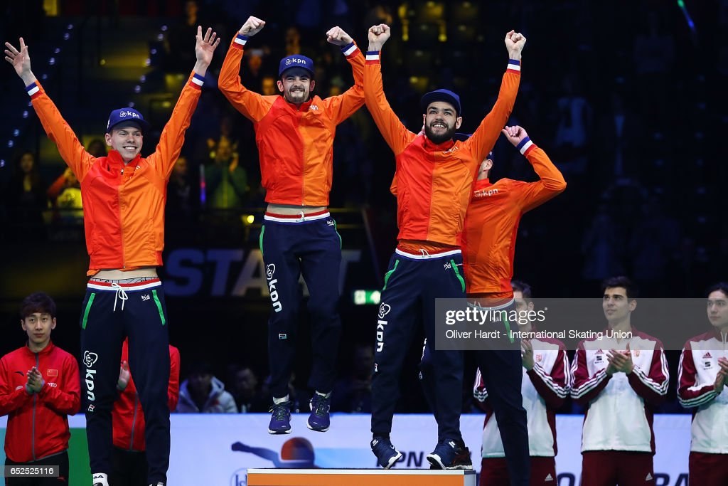 Team of Netherlands with Sjinkie Knegt, Dennis Visser, Itzhak de Laat and Daan Breeuwsma with the gold medal celebrate after the Men's 5000 meters relay finals race during day two of ISU World Short Track Championships at Rotterdam Ahoy Arena on March 12, 2017 in Rotterdam, Netherlands.