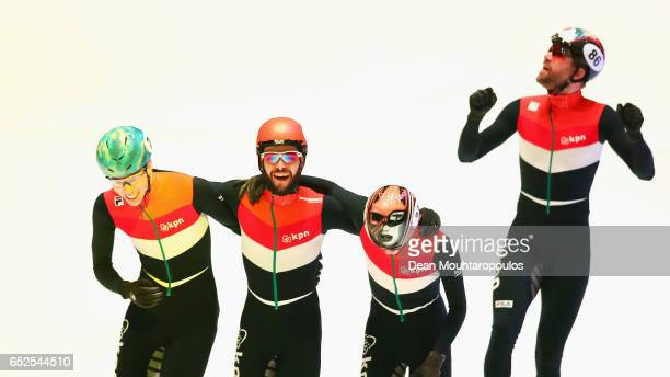 Team of Netherlands with Sjinkie Knegt Dennis Visser Itzhak de Laat and Daan Breeuwsma celebrate winning the gold medal after the Mens 5000m relay...