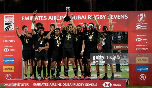 Team of New Zealand celebrate with the trophy after winning the HSBC World Rugby Sevens Series 2019 Cup Final match between New Zealand and United...