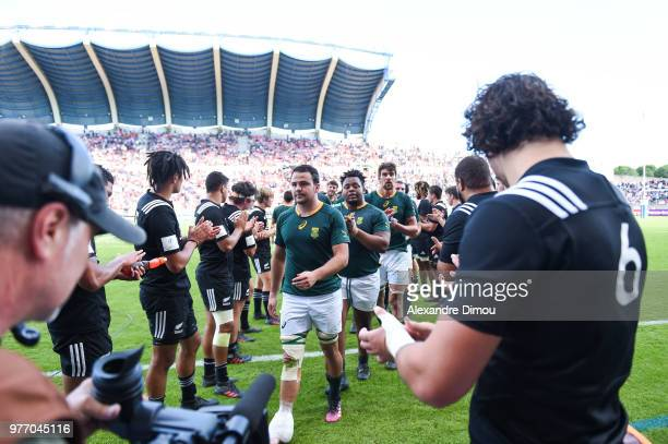 Team of New Zealand Tributes Team of South Africa during the World Championship U20 3rd place match between South Africa and New Zealand on June 17...