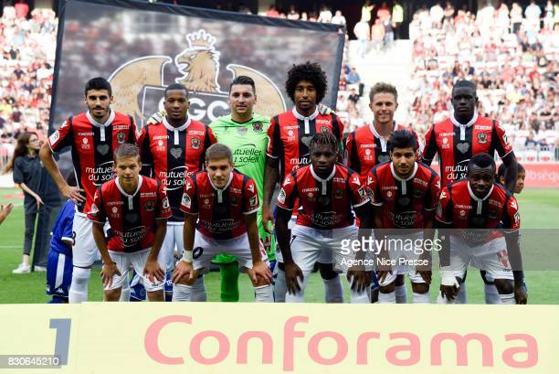 Team of Nice during the Ligue 1 match between OGC Nice and Troyes Estac at Allianz Riviera on August 11 2017 in Nice