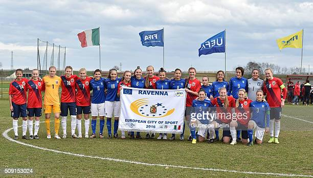 Team of Norway and Team of Italy before the Women's U17 international friendly match between Italy and Norway on February 9 2016 in Cervia Italy