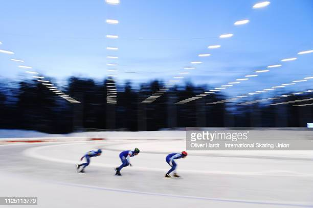 Team of Norway competes during the Team Sprint Men Neo Senior race Day 1 of Junior World Cup Speed Skating at the Oulunkylaen Liikuntapuistoon Arena...