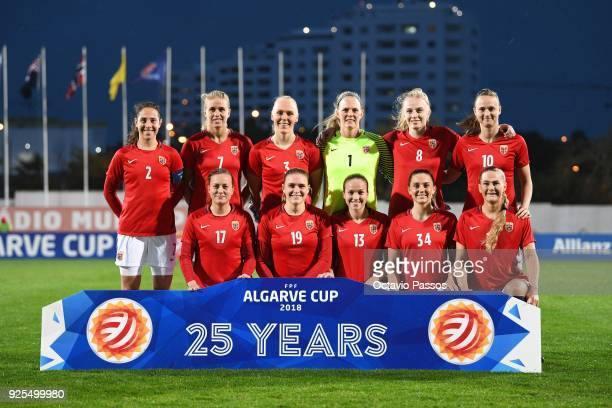 Team of Norway pose for a photo during the Women's Algarve Cup Tournament match between Norway and Australia at Municipal Albufeira on February 28...