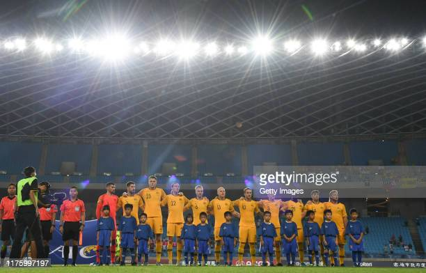 Team of of Australia singing national anthem during the FIFA World Cup Qatar 2022 and AFC Asian Cup China 2023 Preliminary Joint Qualification Round...